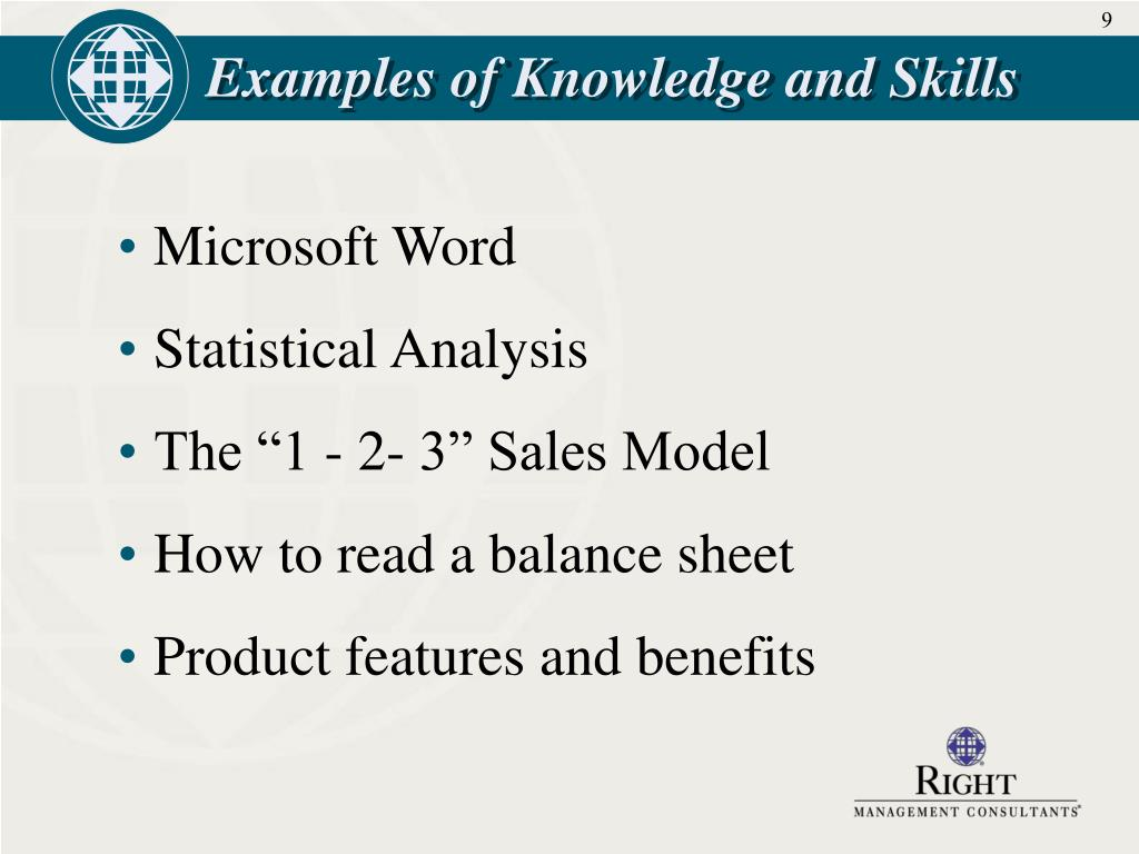 Examples of Knowledge and Skills