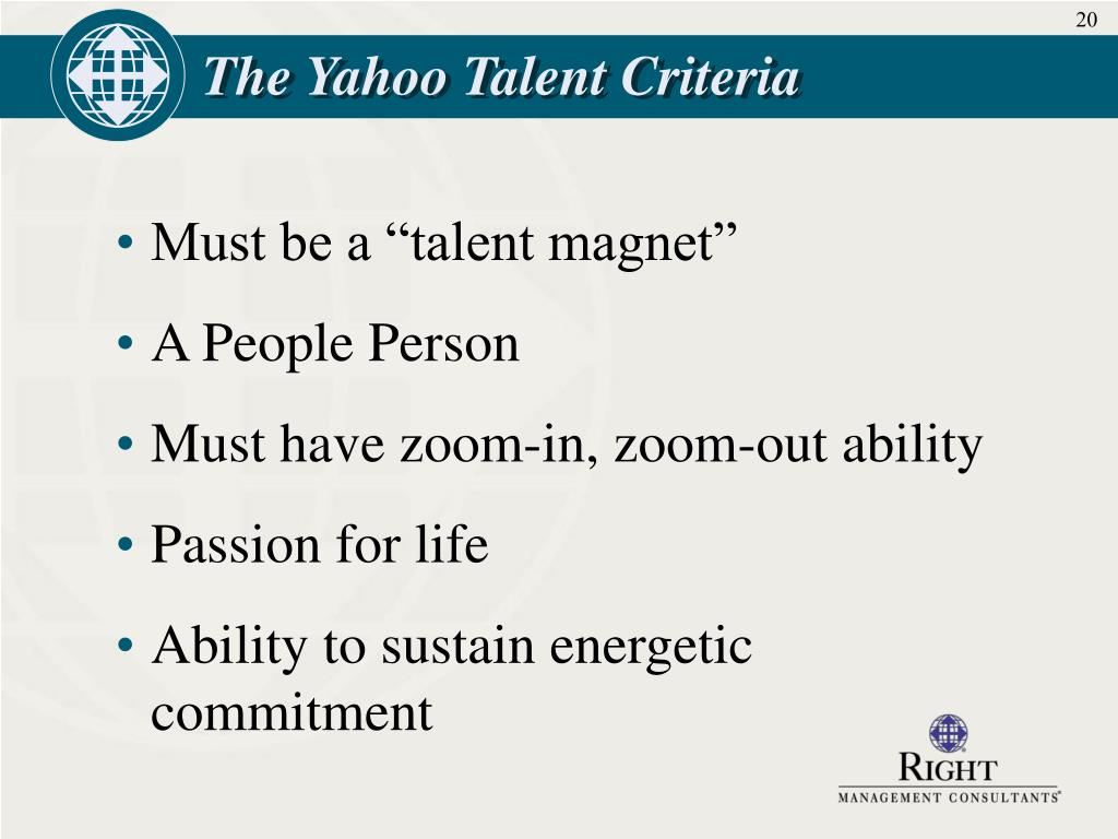 The Yahoo Talent Criteria