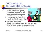 documentation domestic bills of lading
