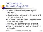 documentation domestic freight bills