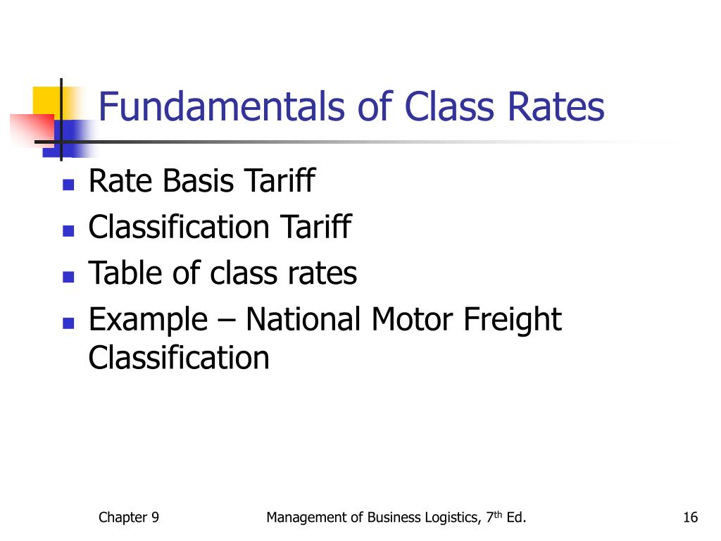Fundamentals of Class Rates