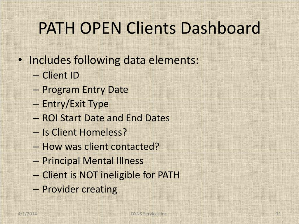 PATH OPEN Clients Dashboard