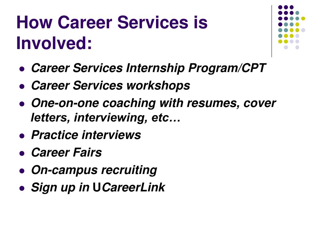 How Career Services is Involved: