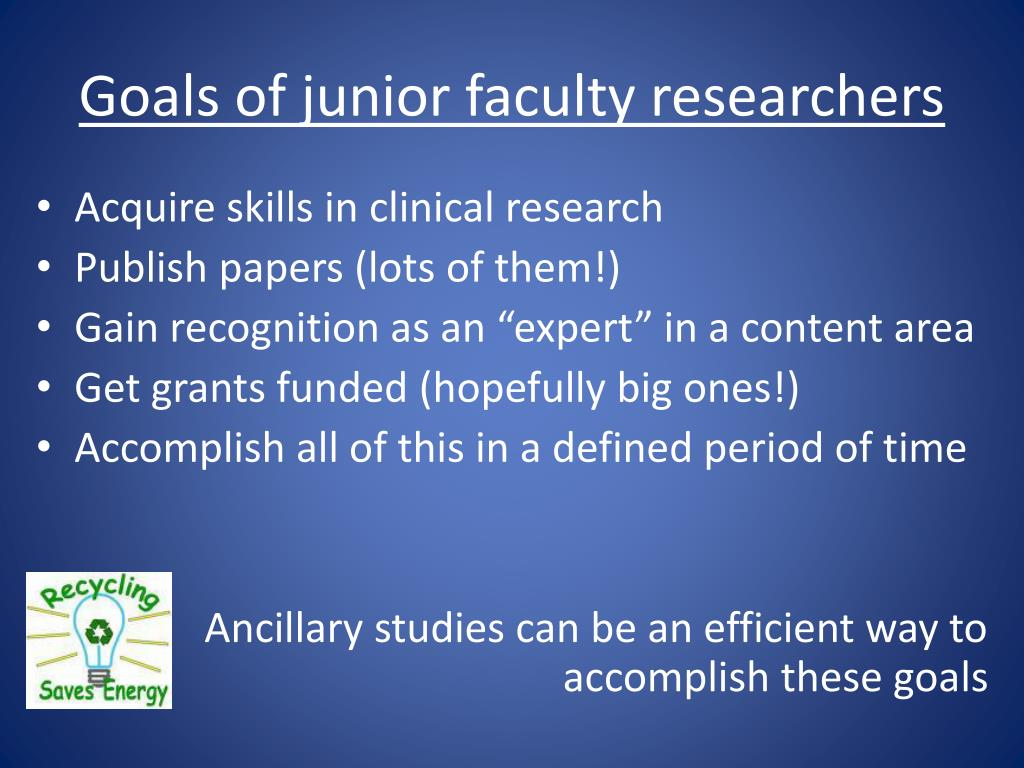 Goals of junior faculty researchers