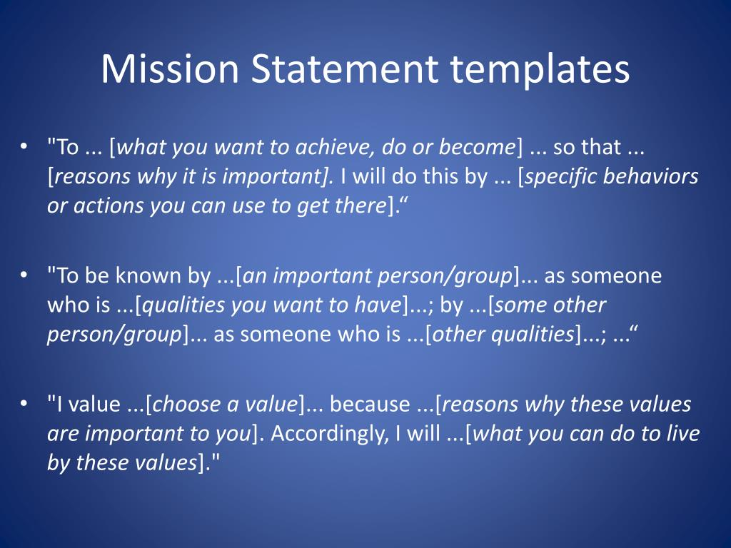 Mission Statement templates