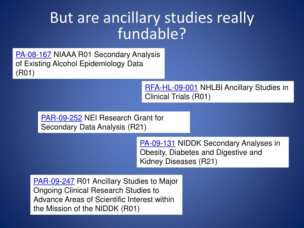 But are ancillary studies really fundable?