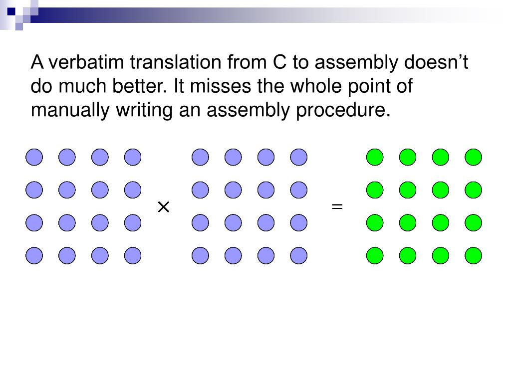 A verbatim translation from C to assembly doesn't do much better. It misses the whole point of manually writing an assembly procedure.