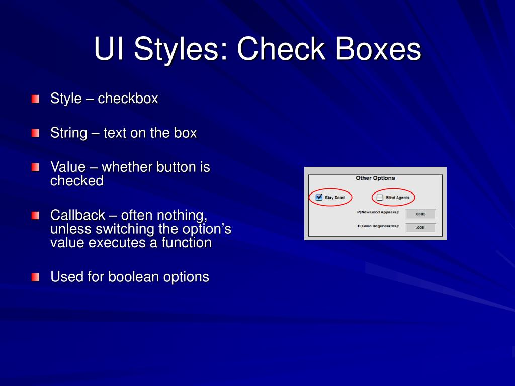 UI Styles: Check Boxes
