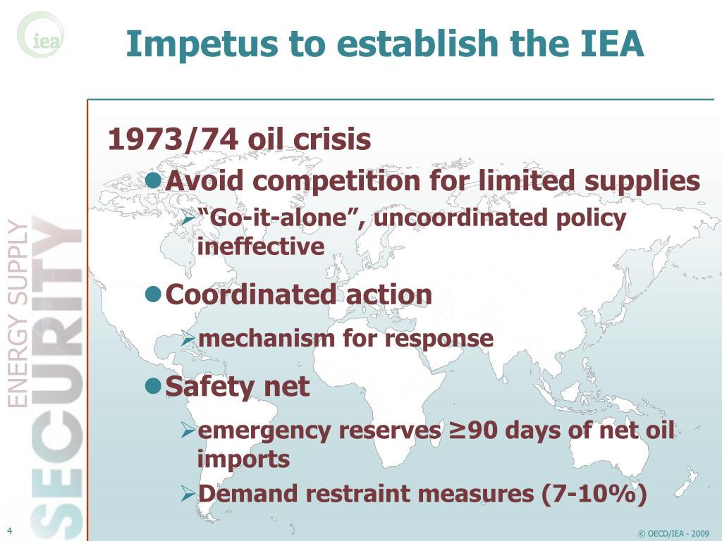 Impetus to establish the IEA