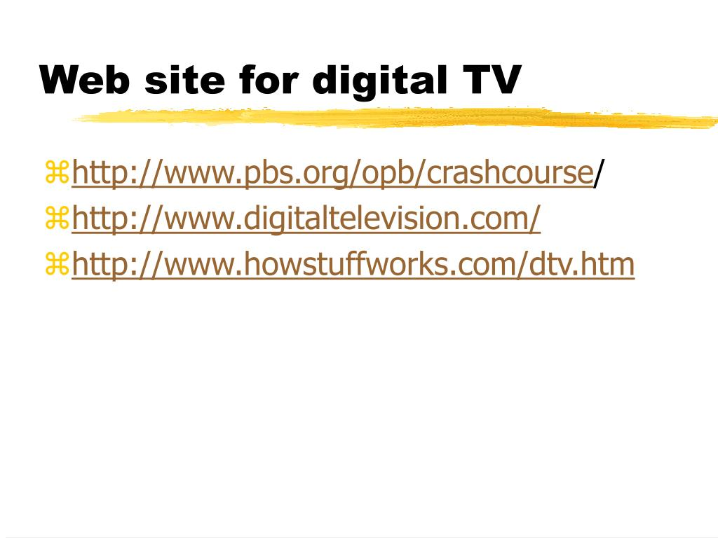 Web site for digital TV