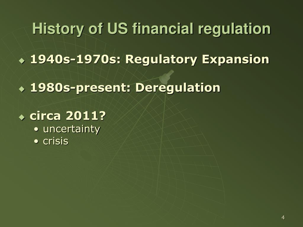 History of US financial regulation