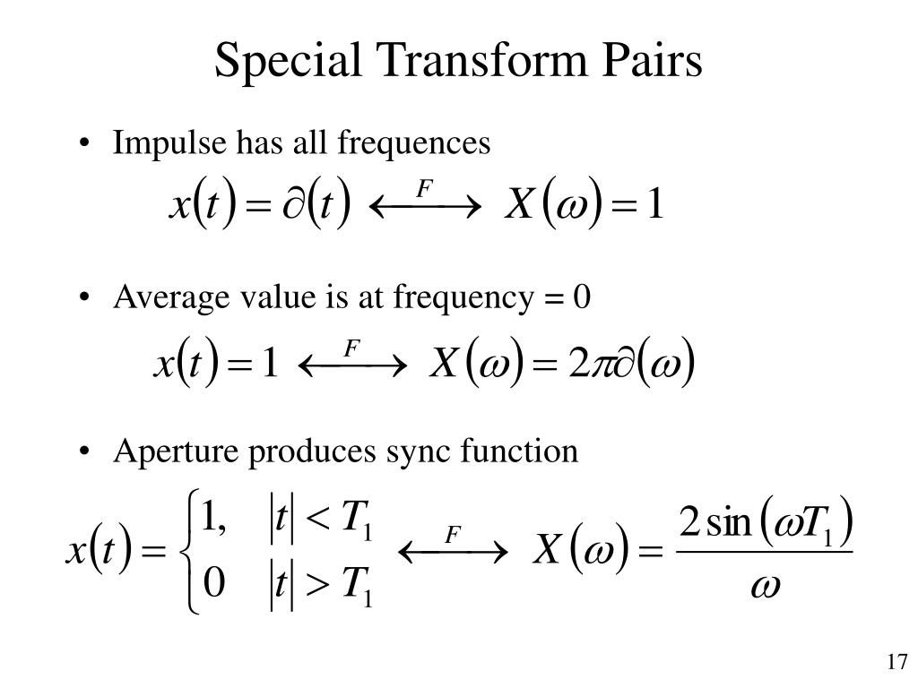 Special Transform Pairs