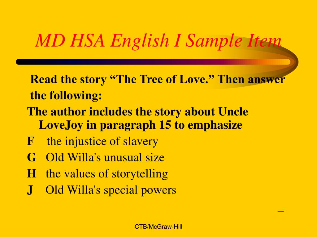 MD HSA English I Sample Item