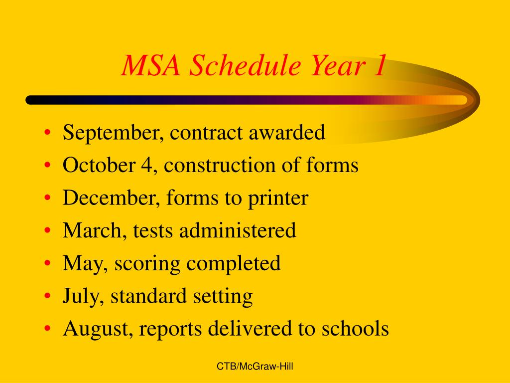 MSA Schedule Year 1