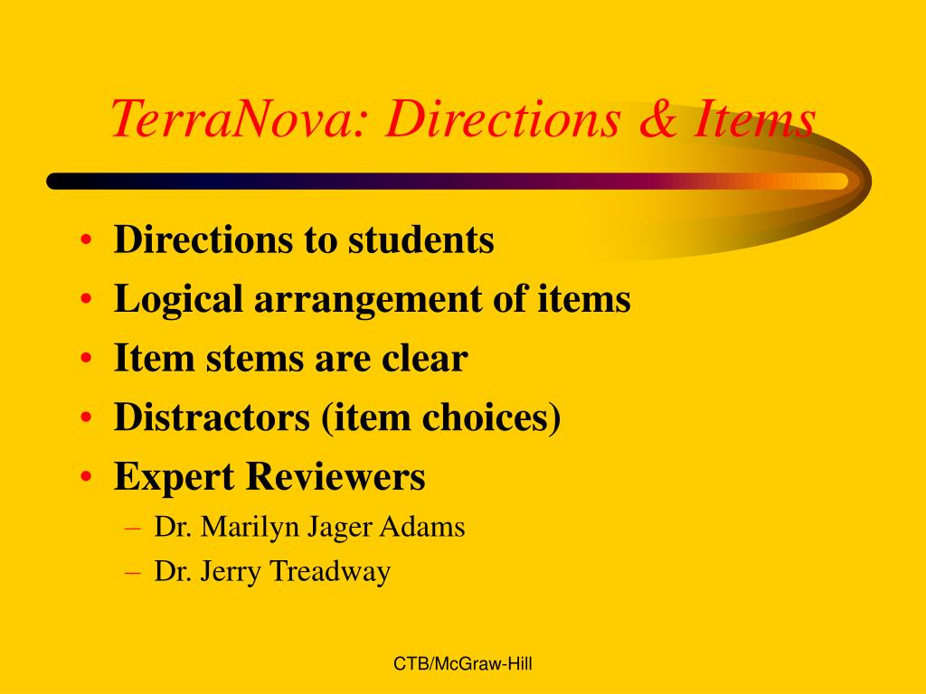 TerraNova: Directions & Items