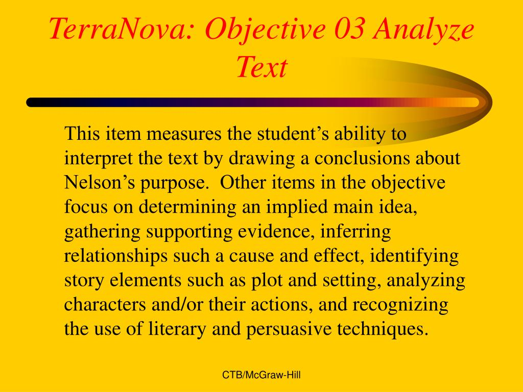 TerraNova: Objective 03 Analyze Text