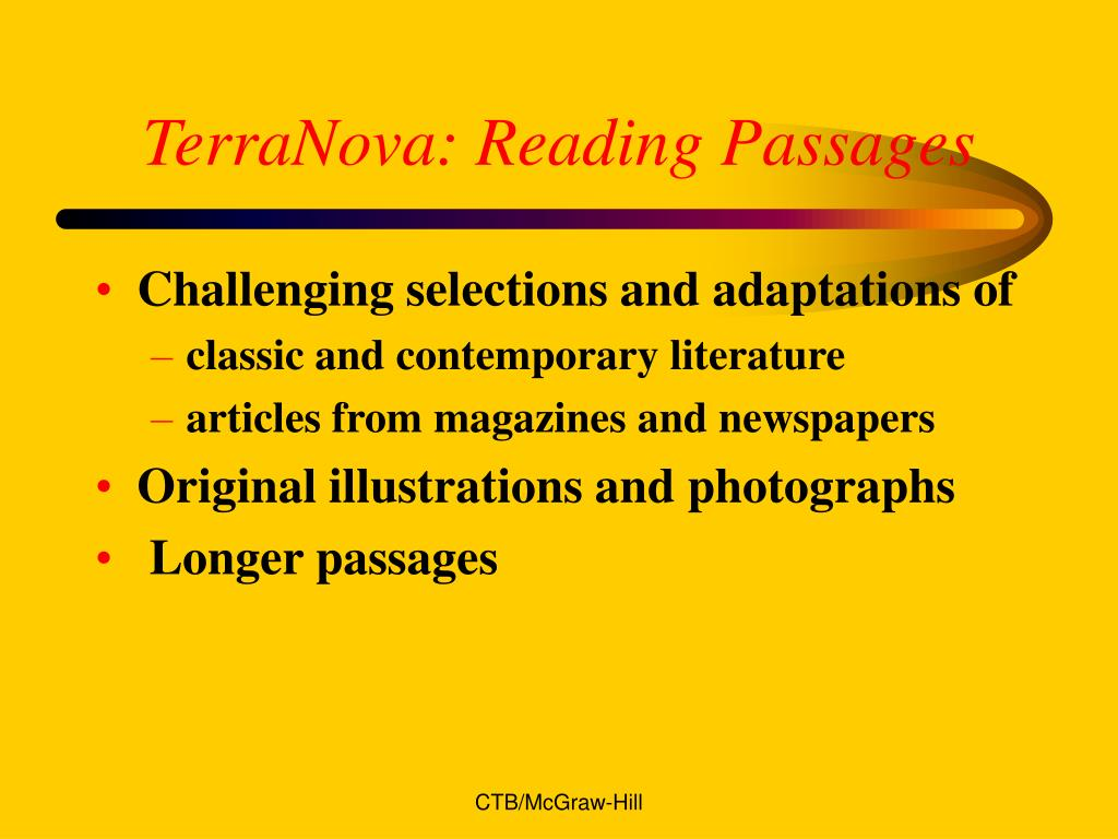 TerraNova: Reading Passages
