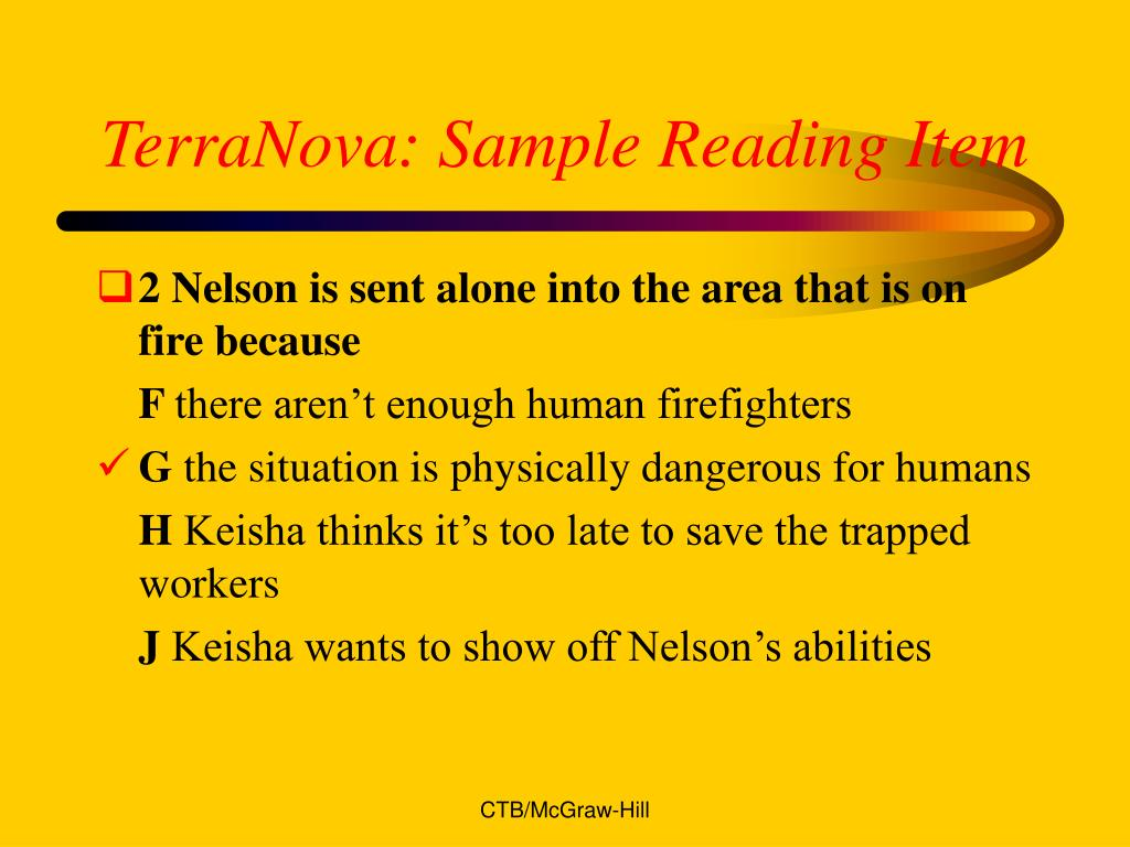 TerraNova: Sample Reading Item