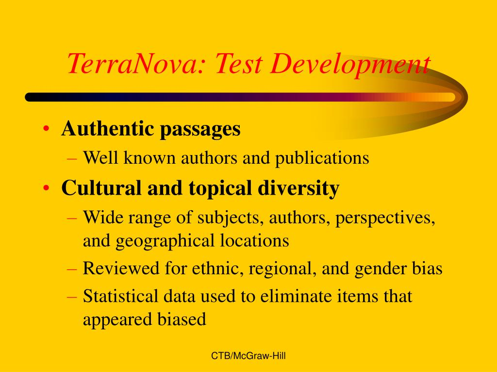 TerraNova: Test Development