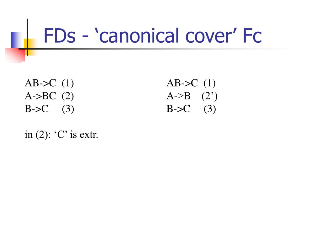 FDs - 'canonical cover' Fc