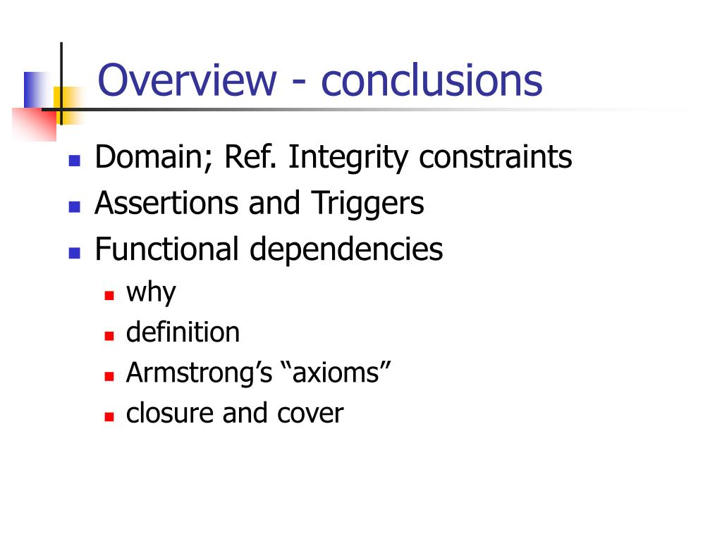 Overview - conclusions