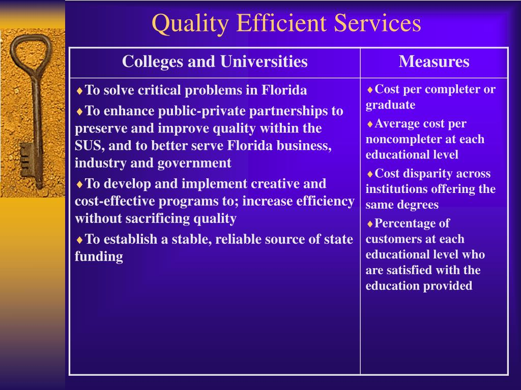 Quality Efficient Services