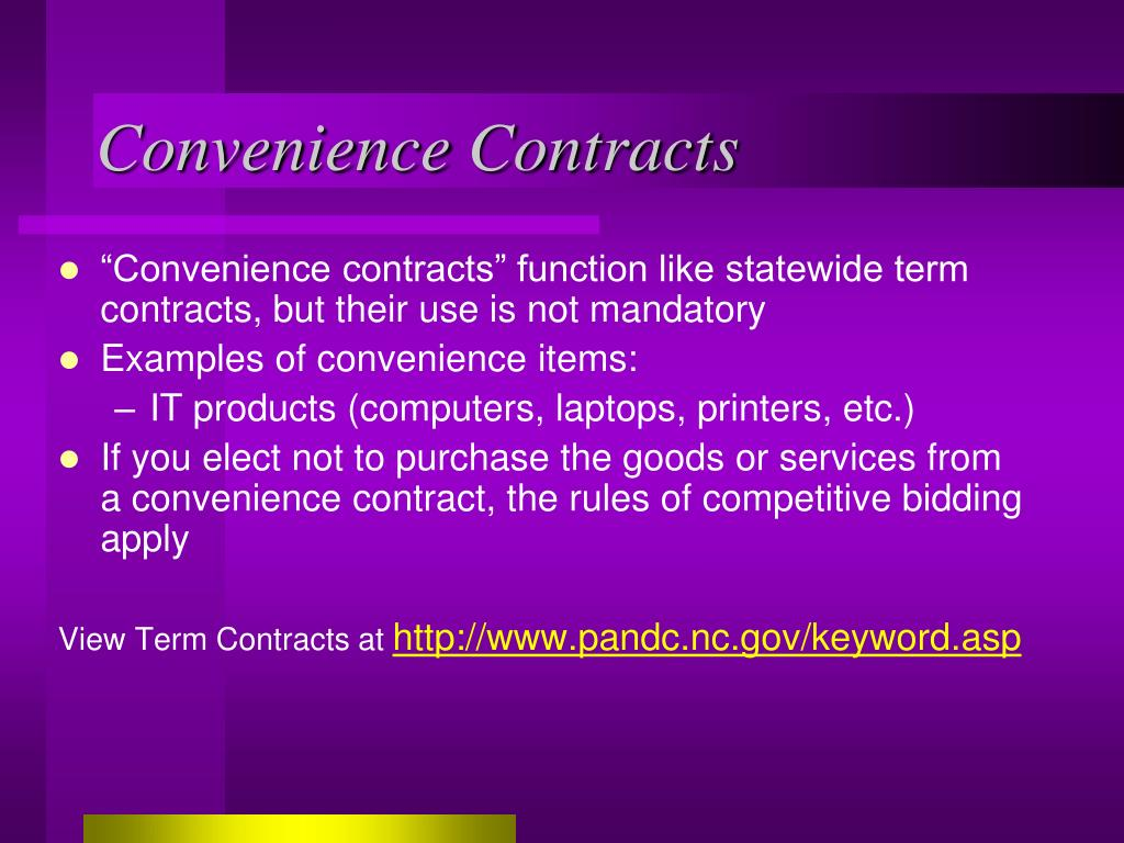 Convenience Contracts