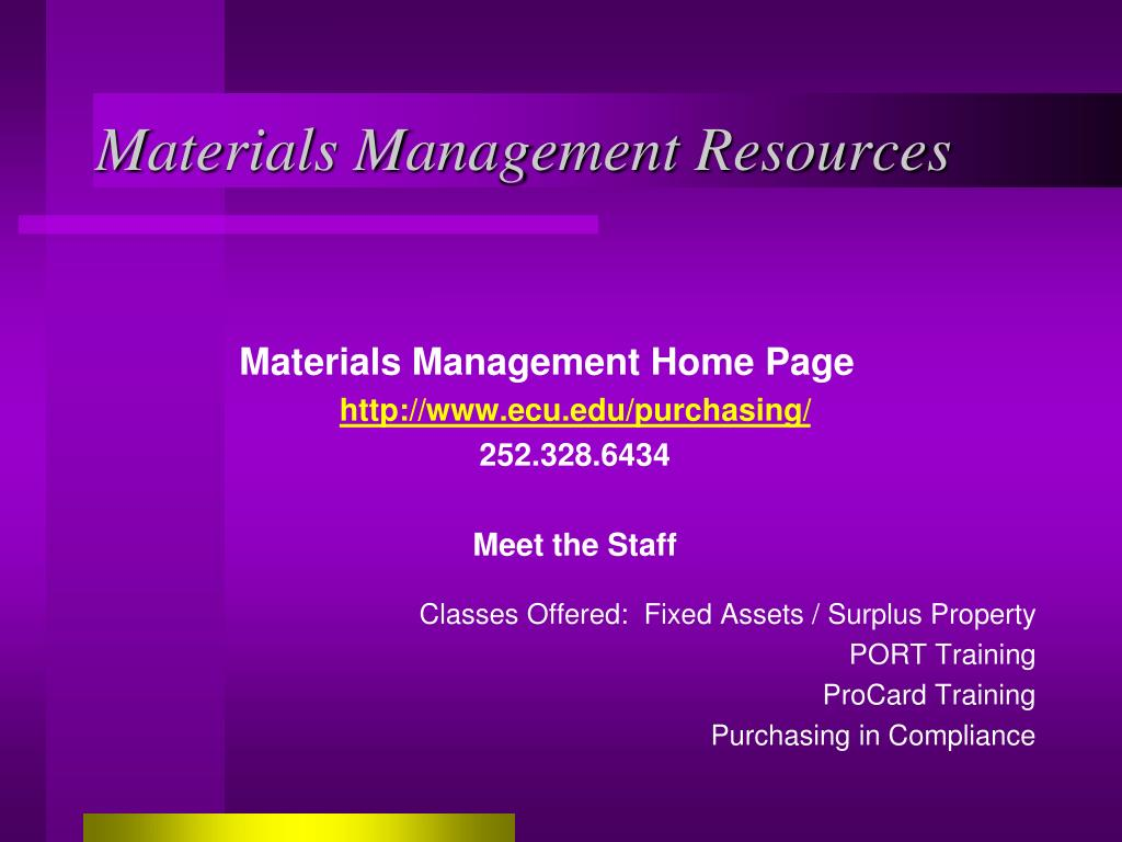 Materials Management Resources