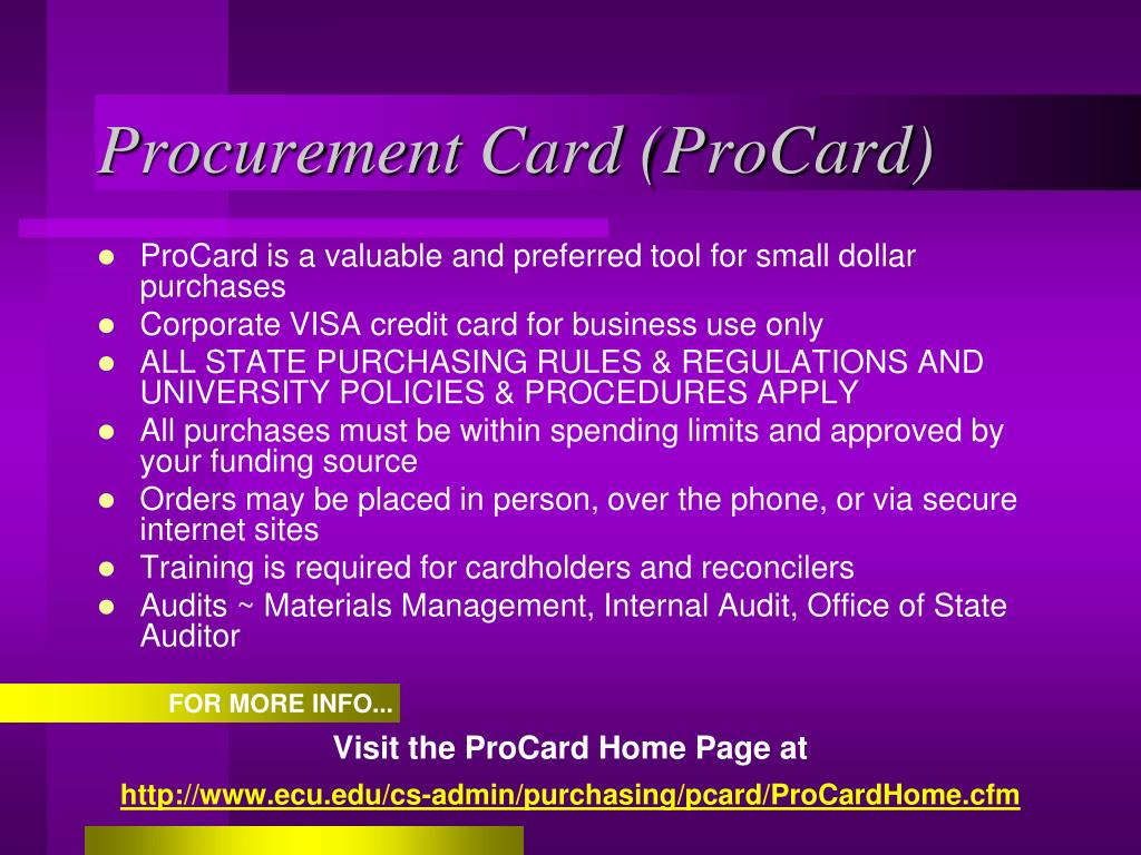 Procurement Card (ProCard)