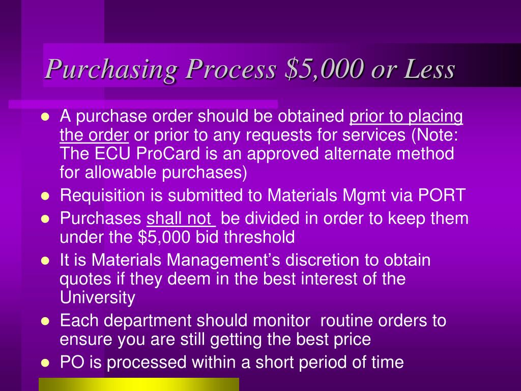 Purchasing Process $5,000 or Less