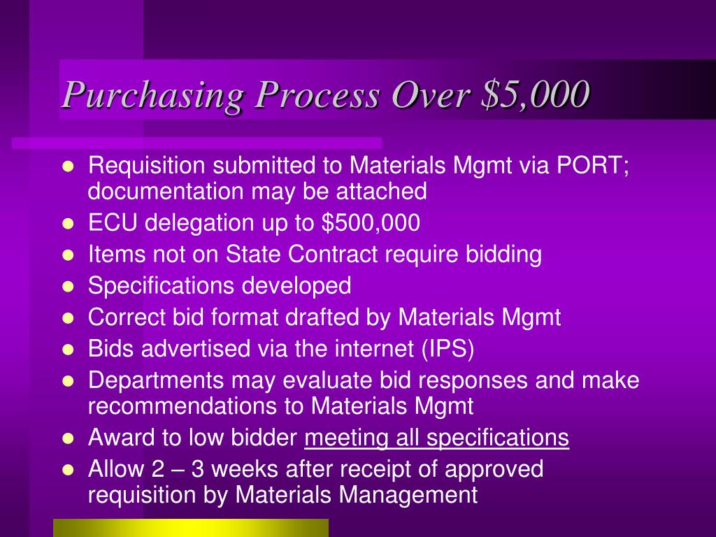 Purchasing Process Over $5,000