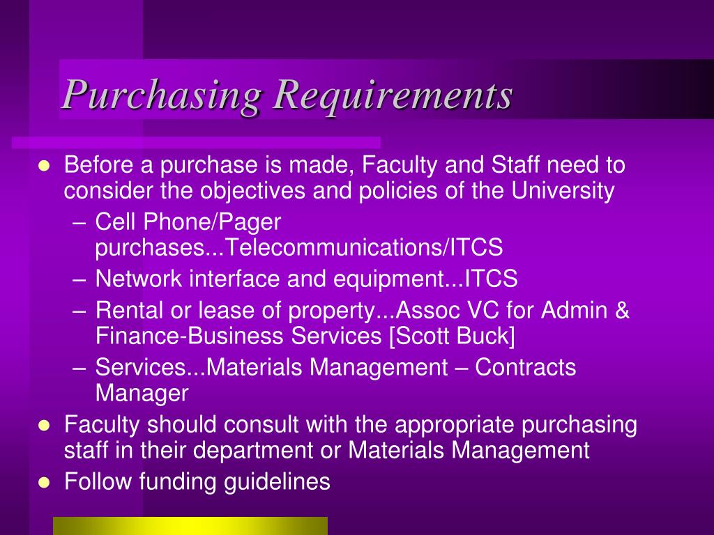 Purchasing Requirements