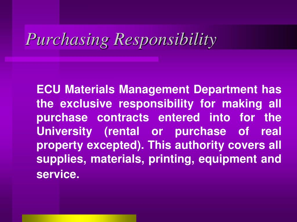 Purchasing Responsibility