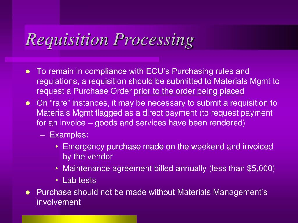 Requisition Processing