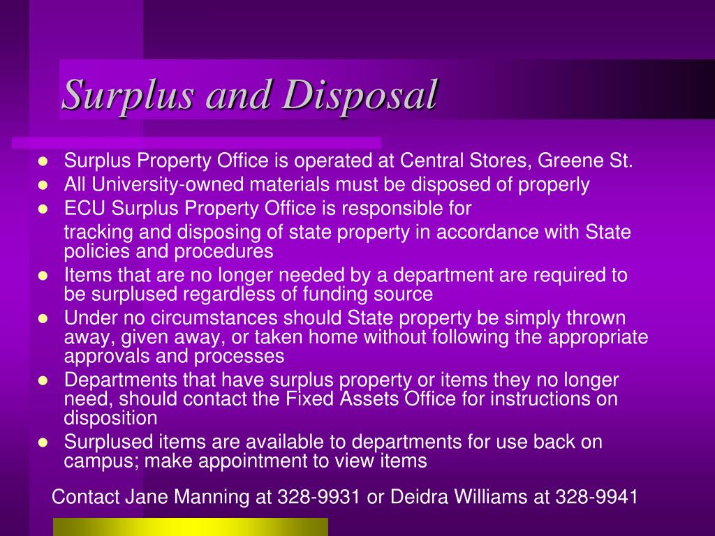 Surplus and Disposal