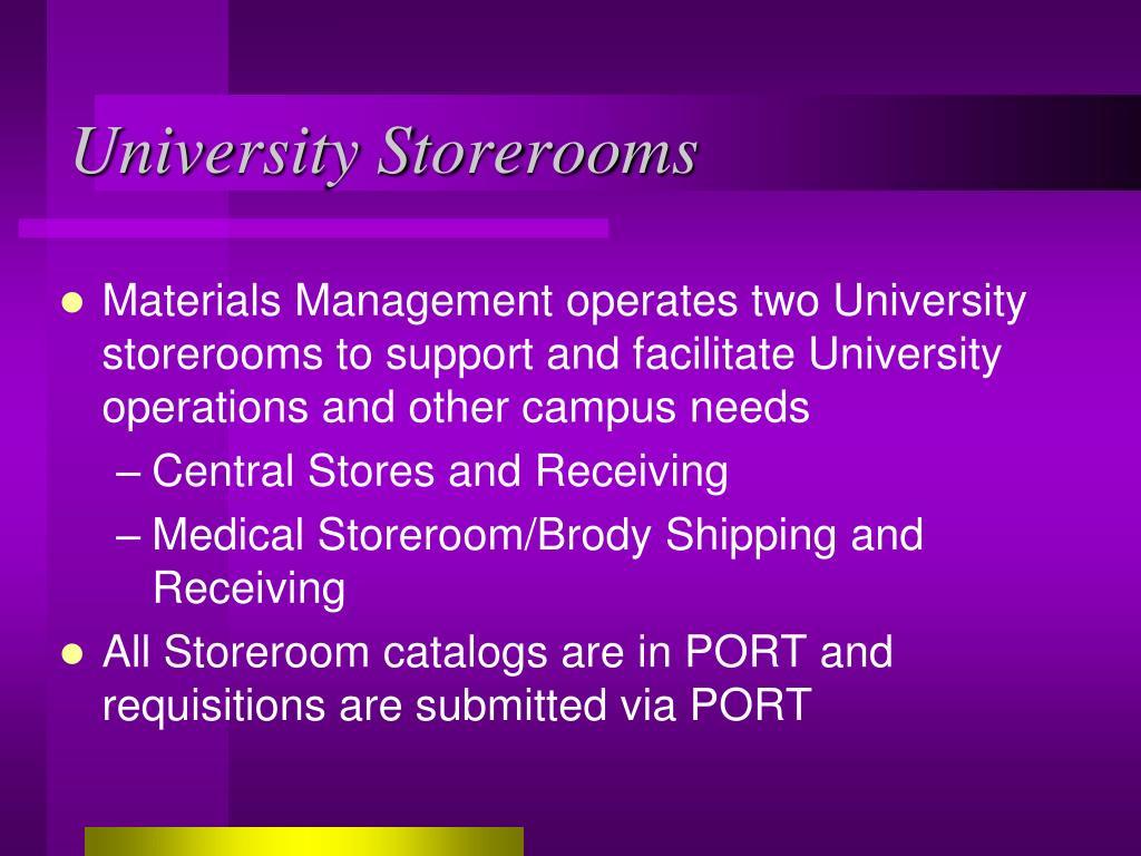 University Storerooms