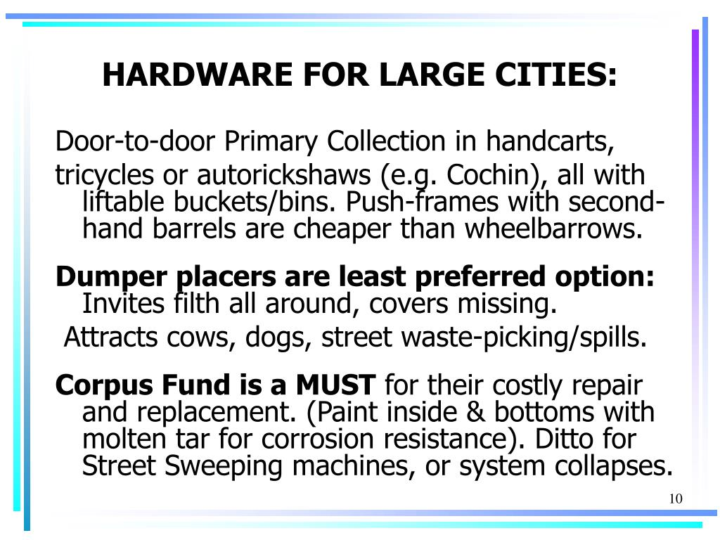 HARDWARE FOR LARGE CITIES: