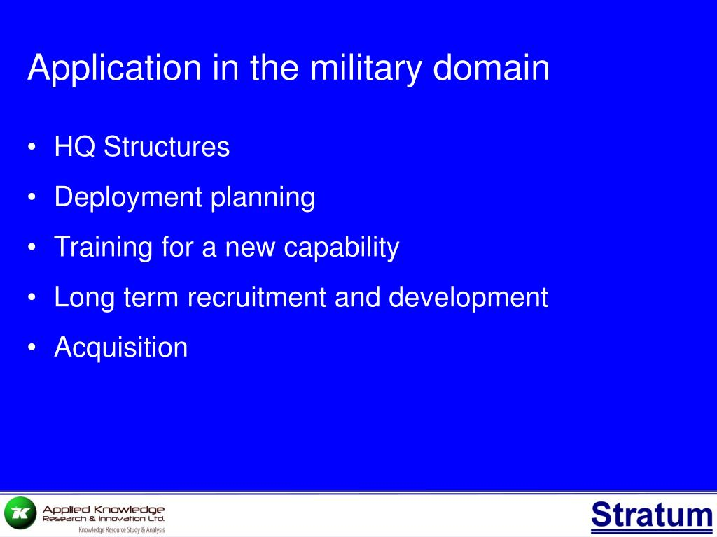 Application in the military domain