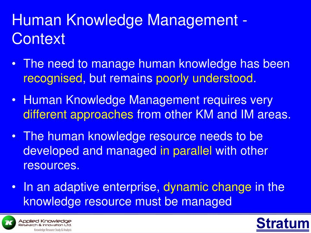 Human Knowledge Management - Context