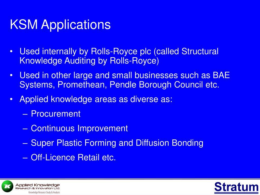 KSM Applications