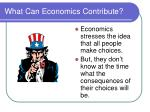 what can economics contribute