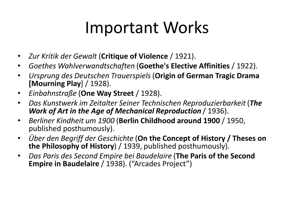 Important Works