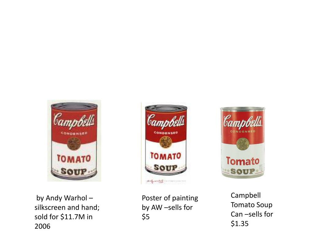 Campbell Tomato Soup Can –sells for $1.35