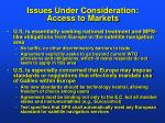 issues under consideration access to markets