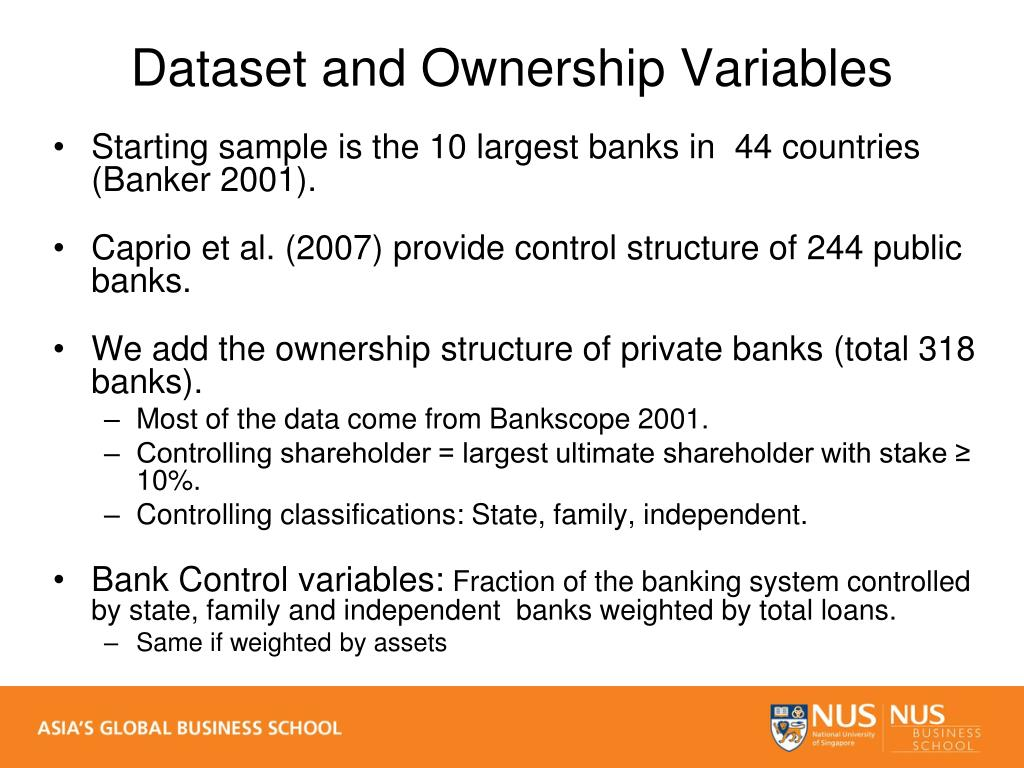 Starting sample is the 10 largest banks in  44 countries (Banker 2001).
