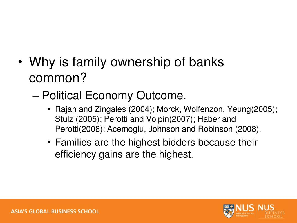 Why is family ownership of banks common?