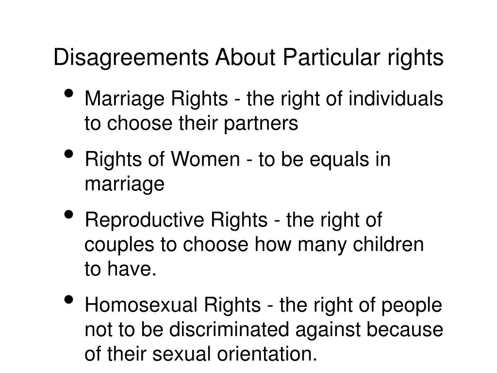 Disagreements About Particular rights