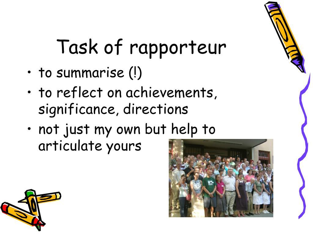 Task of rapporteur