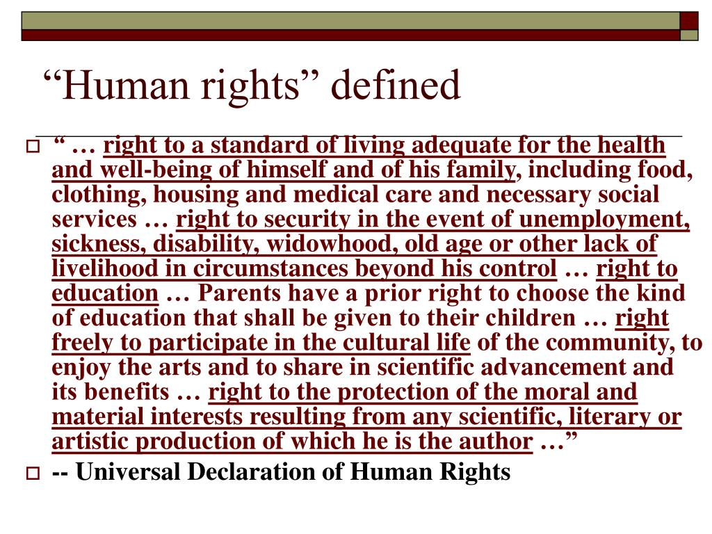 """Human rights"" defined"