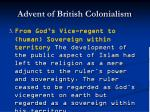 advent of british colonialism37